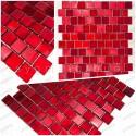 Echantillon carreaux mosaique verre salle de bain et douche drio rouge