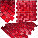 Glass mosaic tile sample for shower and bathroom drio rouge