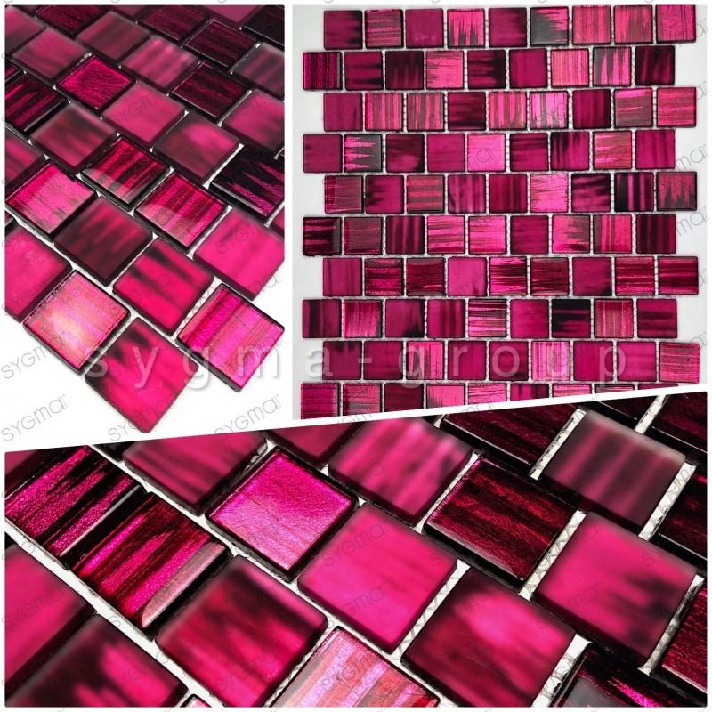 Muestra azulejo mosaico bano y cocina drio violet
