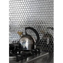 carrelage mosaique credence cuisine en inox poli miroir SORA