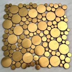 carrelage pour sol ou mur en acier inox couleur doré Focus Or