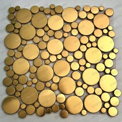 Mosaico suelo de acero inoxidable o azulejos de pared en color oro Focus Or