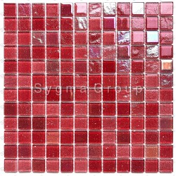 glass mosaic wall mosaic kitchen and bathroom Habay Rouge