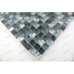 Tile mosaic glass and stone 1 plate MEZZO