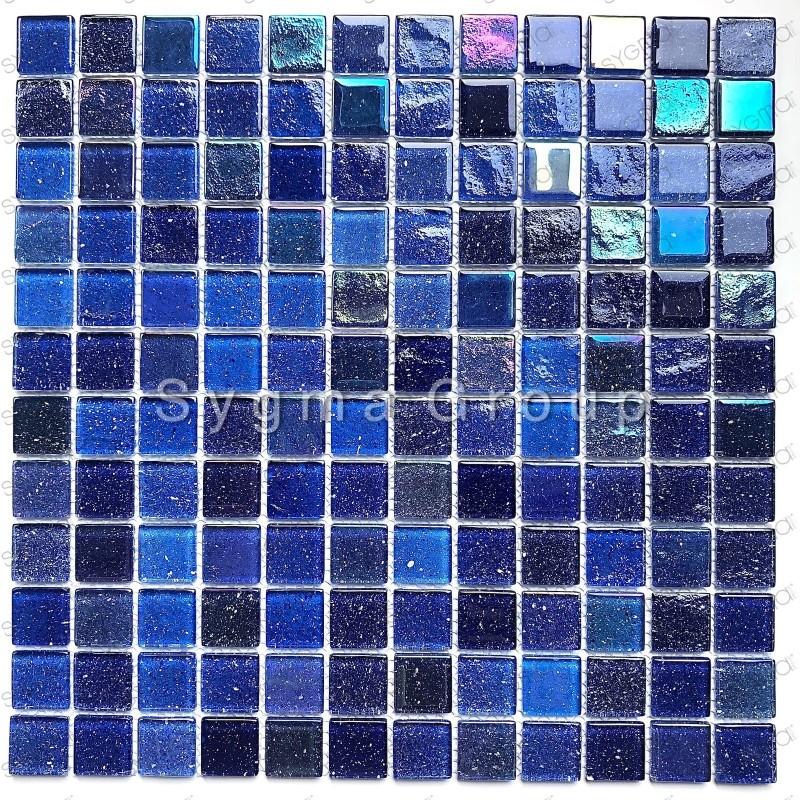 Mosaique carrelage de verre murale cuisine et salle de bains Habay Bleu