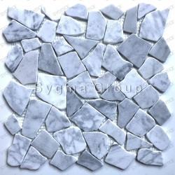 Mosaicos de mármol y azulejos de pared para la ducha y el baño Oria Blanc