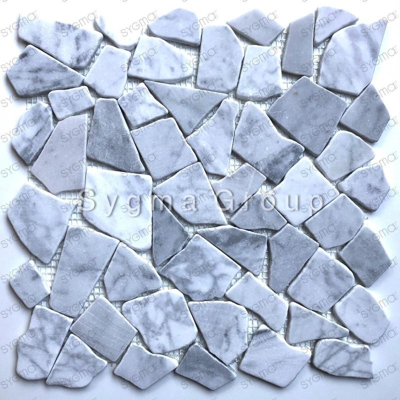 Carrelage galets en marbre pour sol et mur douche et salle de bains Oria Blanc