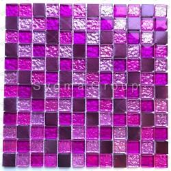Sheet Glass and aluminium mosaic Nomade Fuchsia