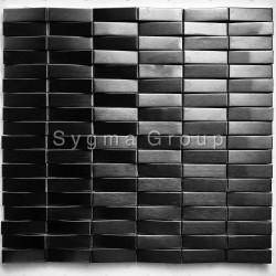 Mosaico en relieve 3D en acero inoxidable para las paredes de la cocina o el baño Shelter Noir