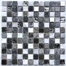 Mosaique sol carrelage mural salle de bains et cuisine en verre et metal Willa