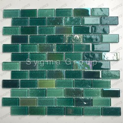 Mosaique mur salle de bains carrelage cuisine verre Kalindra Vert
