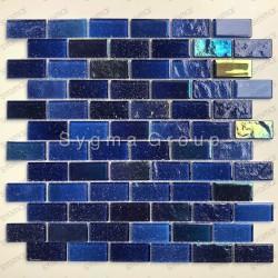 Azulejos de vidrio azul para las paredes de la cocina y el baño Kalindra Bleu