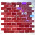 Red glass wall tile for bathroom and kitchen Kalindra Rouge