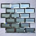 Malla mosaicos la pared de la cocina o el baño en vidrio de espejo y mate Lazarre
