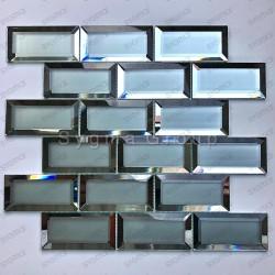 carrelage metro mural cuisine et credence en verre miroir et mat Lazarre