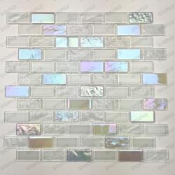 Mosaique mur salle de bains carrelage cuisine verre Kalindra Blanc