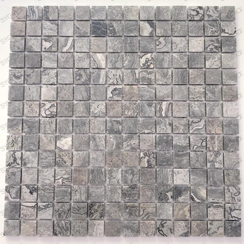 Mosaique de pierre mur et sol salle de bains Nizza Gris