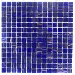 Baño y ducha de mosaico de azulejos de vidrio Plaza Bleu Nuit