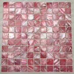 mosaique de nacre coquillage salle de bains ou cuisine Nacarat Rouge