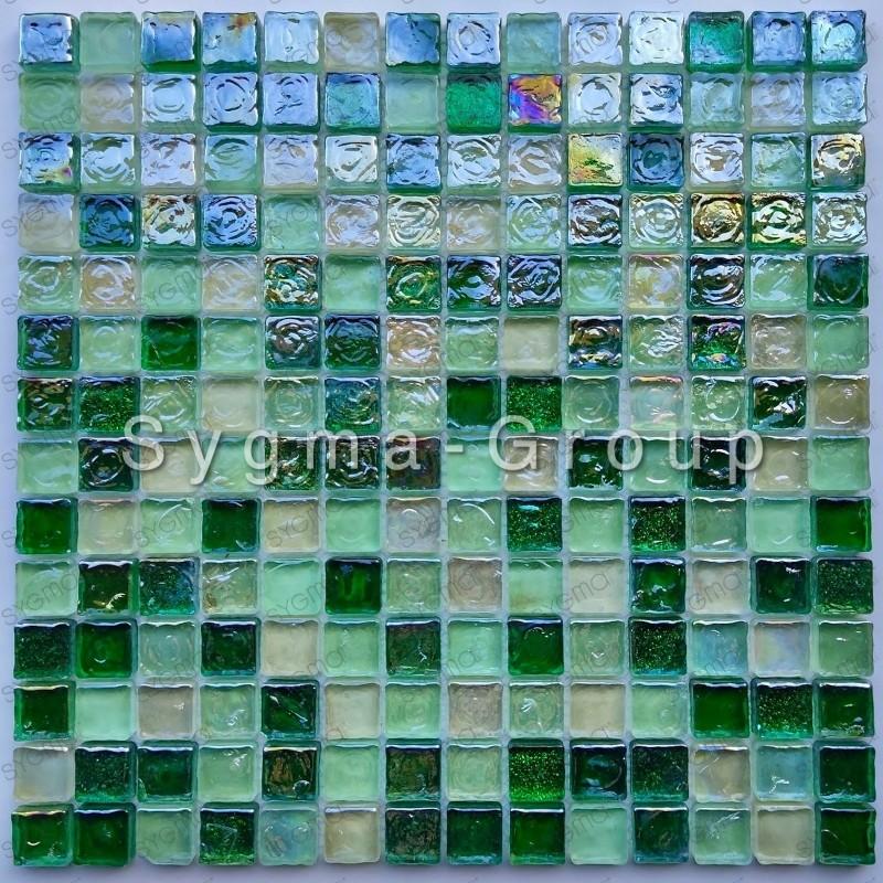 Glass mosaic tile wall and floor bathroom Arezo Vert