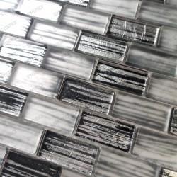 Carrelage et mosaique de verre pour mur de cuisine et salle de bains Haines Gris