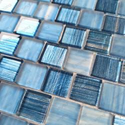 Mosaique verre douche et salle de bain 1m Drio bleu