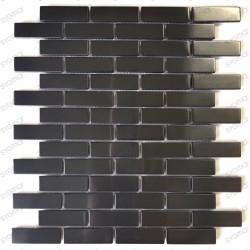 Tile mosaic stainless steel backsplash Logan Noir