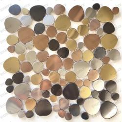 Mosaique en acier inox galet sol et mur pour douche et salle de bains Leola