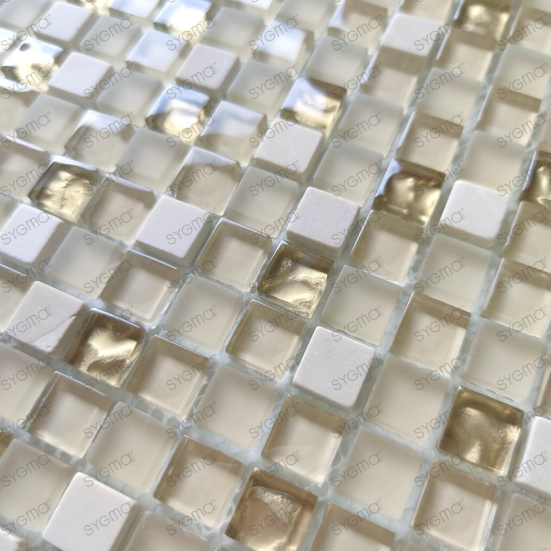 Mosaico de vidrio y baldosas de piedra 1m2 Luxury