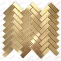 Mosaique acier inox carrelage mur cuisine et salle de bains Rexit Or
