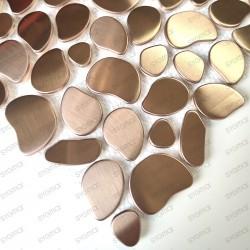 Carrelage pour sol et mur en acier mosaique inox Galet Cuivre