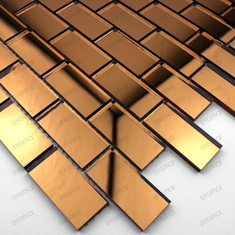 Mosaic glass tile mirror Brillo Marron