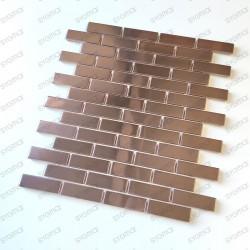 Carreaux de mosaique brique en inox modèle Logan Cuivre
