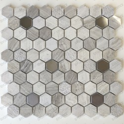 Mosaico de mármol y acero inoxidable para el baño y la ducha Bellona Beige