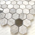 Marble and stainless steel mosaic bathroom and shower tiles Bellona Beige