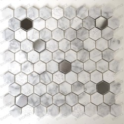 Mosaic tile marble and steel for walkin shower and bathroom Bellona Blanc