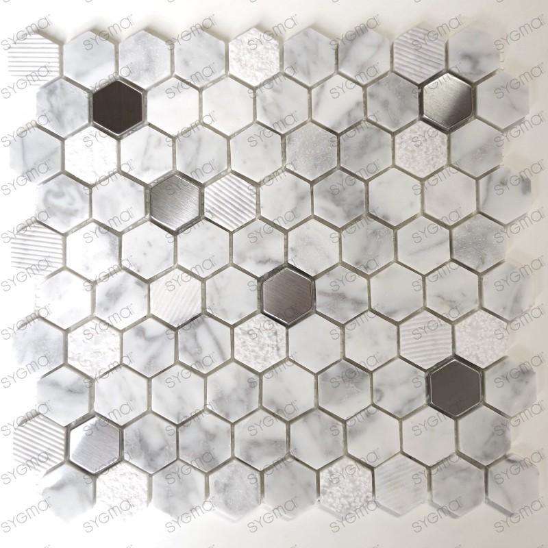 Mosaique en marbre et metal pour douche et salle de bains Bellona Blanc
