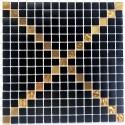 Glass mosaic tile black and gold color Allevar