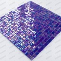 iridescent blue mosaic tiles wall and floor walkinshower and bathroom Imperial Petrole
