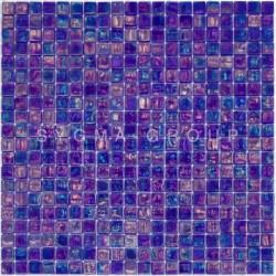 Carrela mosaique bleu en verre irrisé sol et mur salle de bains douche Imperial Petrole