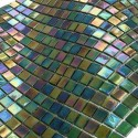 iridescent green mosaic tiles for bathroom floor and wall Imperial Emeraude