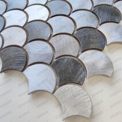 Plaque mosaique carrelage aluminium carreaux écaille poisson Xenia