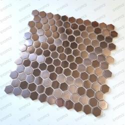 Copper stainless steel mosaic backsplash kitchen Rossini Cuivre