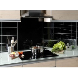 credence cuisine verre laque carrelage 60 x 60 cm NOIR