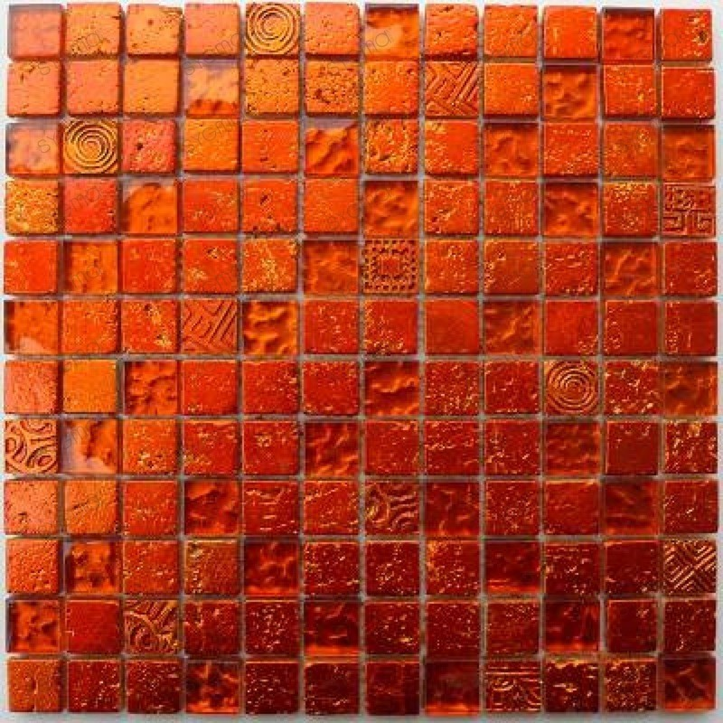 Metallic orange mosaique verre et pierre carrelage for Carrelage salle de bain orange