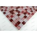 Carrelage mosaique verre hammam 1 plaque OPUS ROUGE