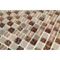 Carrelage mosaique verre 1 plaque OPUS MARRON