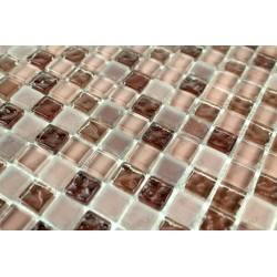 Carrelage mosaique verre 1 plaque OPUS MARRON