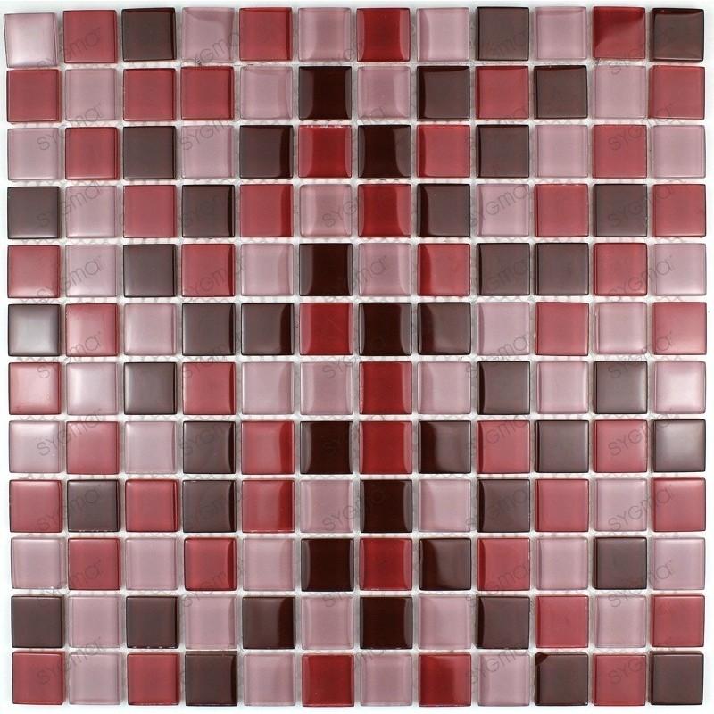 Carrelage verre mosaique douche 1 plaque GRENAT