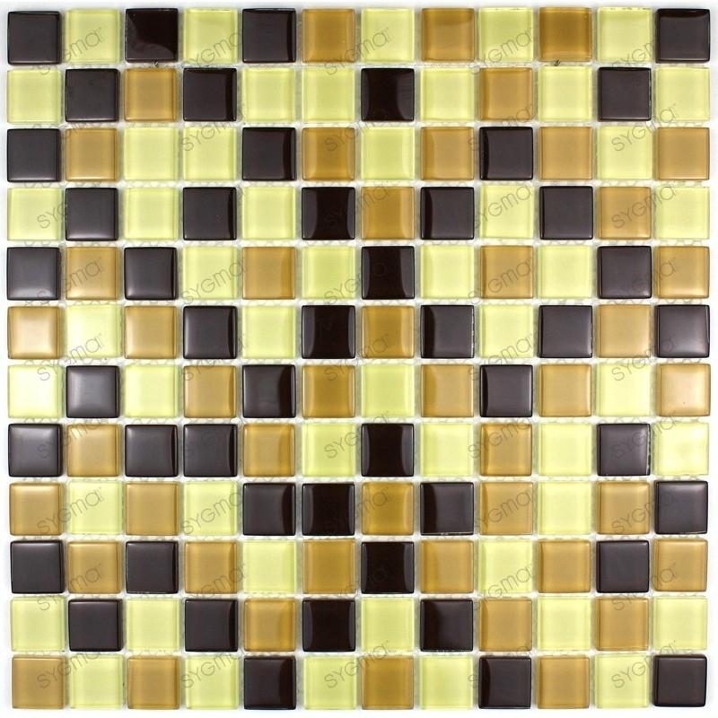 Mosaique carrelage verre 1 plaque MOKA